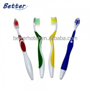 High quality rubber handle adult toothbrush
