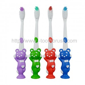 Bear shape kids toothbrush with suction cup for baby