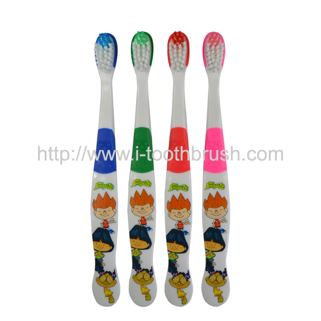 cute cartoon printing kids toothbrush with non-slip handle Featured Image