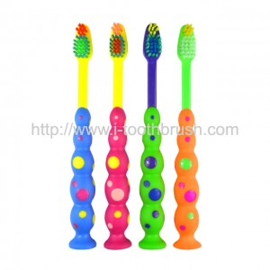 cheap factory price kids toothbrush with suction and cap