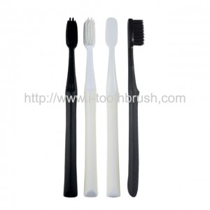 Black and white color handle charcoal bristle toothbrush