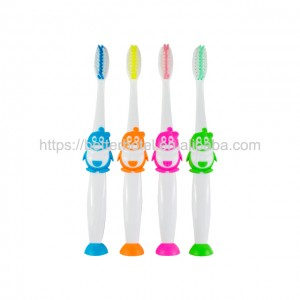 very cute penguin design soft nylon kids toothbrush set