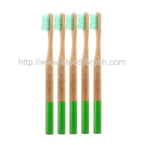 custom green painting bamboo toothbrush
