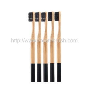OEM black painting round handle toothbrush bamboo