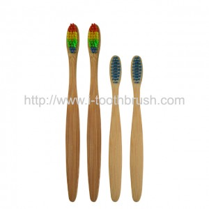 flat handle eco bamboo toothbrush with rainbow bristles kraft box package