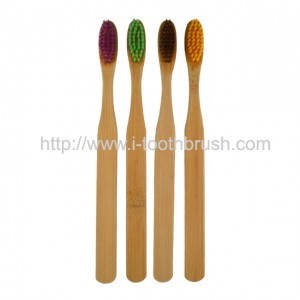 natural bamboo adult toothbrush colorful bristle BPA free zero waste