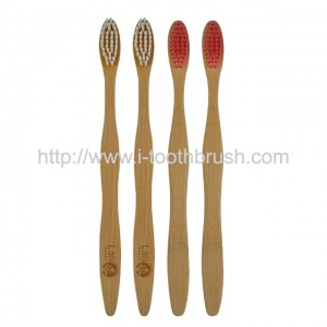 wavy handle bamboo toothbrush soft charcoal bristles