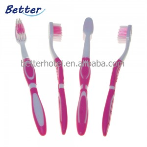 China manufacture toothbrush pink rubber soft nylon