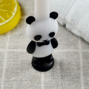 pink and black baby panda toothbrush with suction cup