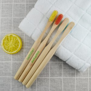 colorful bamboo handle toothbrush with logo